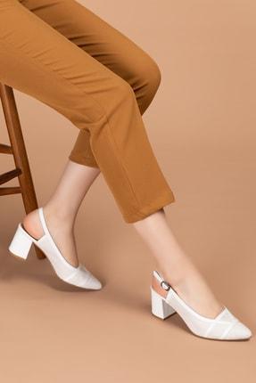 Gondol Hakiki Deri Renkli Tar Topuklu Ayakkabı Şhn.75 - Beyaz Süet - 37 0