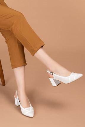 Gondol Hakiki Deri Renkli Tar Topuklu Ayakkabı Şhn.75 - Beyaz Süet - 37 1