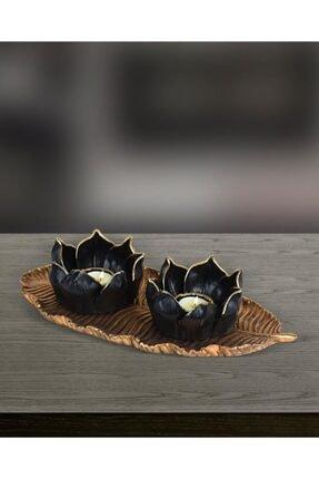yaka dizayn Dekoratif Lotus Mumluk Seti 3 Parça - Altın Polyester 0