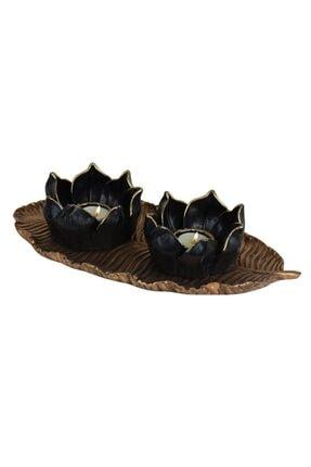 yaka dizayn Dekoratif Lotus Mumluk Seti 3 Parça - Altın Polyester 2