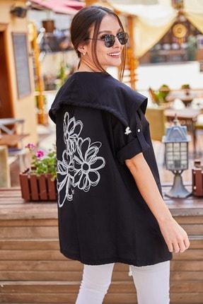armonika Kadın Siyah Sirti Çiçek Baskili Mevsimlik Ceket ARM-20K024030 0