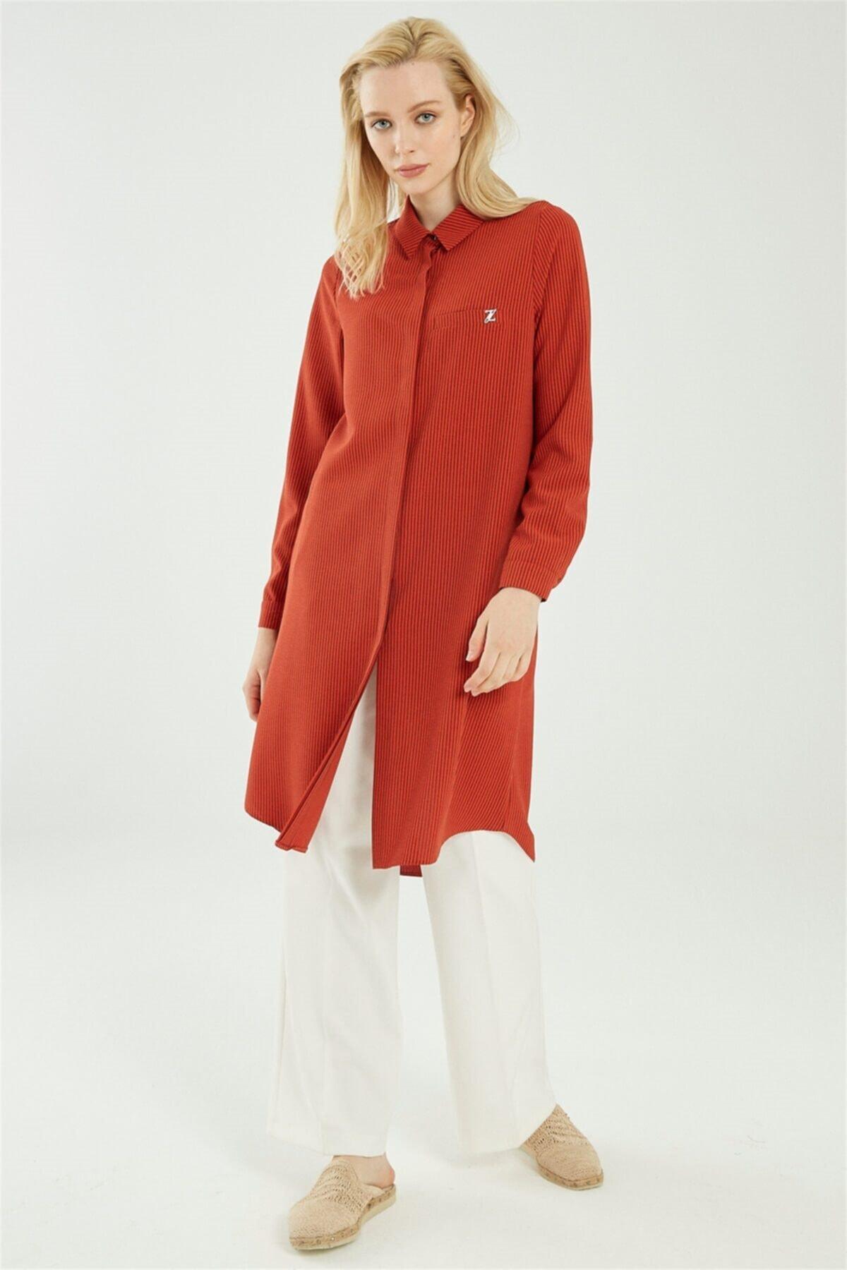 Kadın Gömlek Yaka Çizgili Kiremit Tunik T-0767