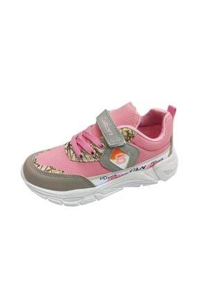 08 Deri Filet Çocuk Spor Ayakkabı Pembe Buz Sarı Parlak resmi