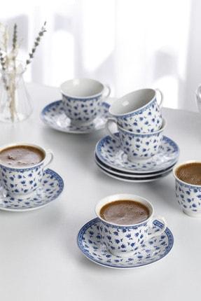 English Home Briana Porselen 6'lı Kahve Fincan Takımı 90 ml Mavi 0