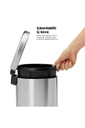 Sas 5 Litre Krom 2'li Banyo Seti Pedallı Çöp Kovası Wc Klozet Tuvalet Fırça Seti Banyo Çöp Kovası 2
