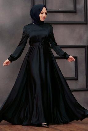 Tesettürlü Abiye Elbiseler - Kemerli Siyah Tesettür Abiye Elbise 28890s OZD-2889