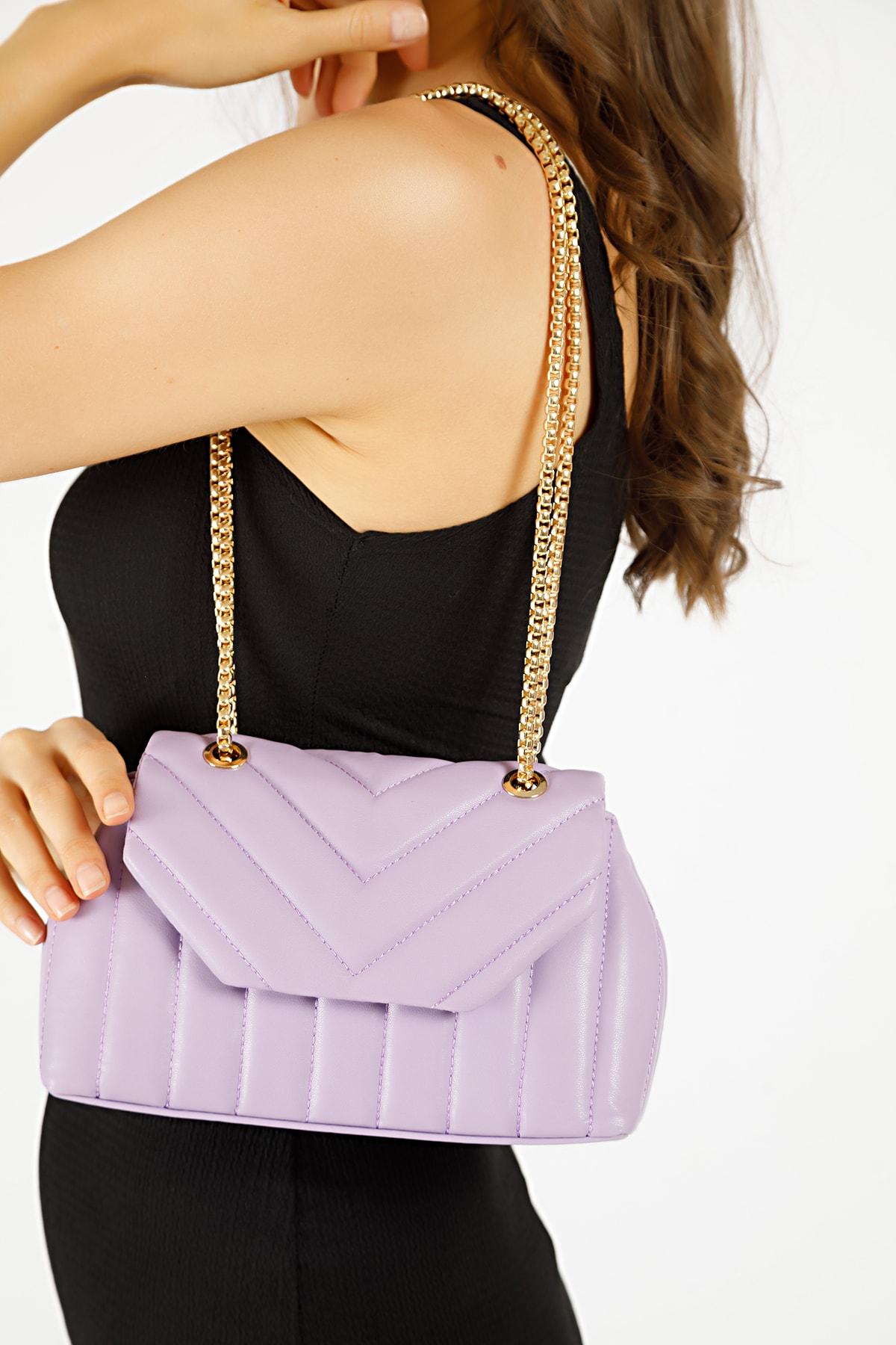Kadın Lila Nakışlı Mini Gissle Çanta