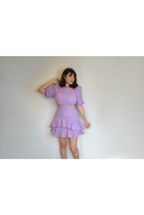 Lila Bel Dekolteli Elbise URN00050