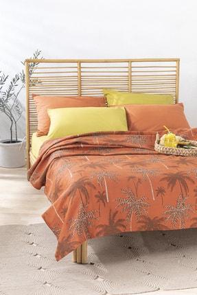 English Home Glitter Palm Baskılı Çift Kişilik Pike 200x220 Cm Yanık Portakal 0