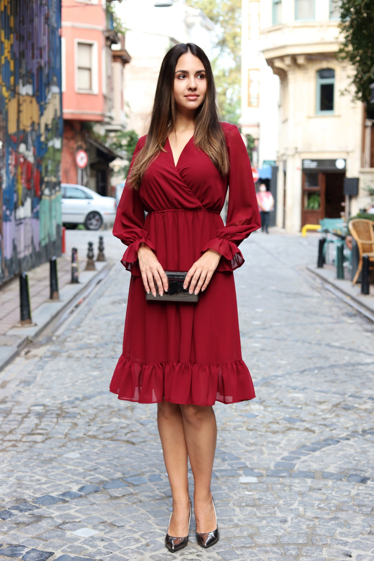 Kadın Bordo Astarlı Kruvaze Şifon Elbise