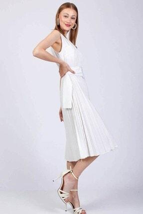 Kadin Beyaz Piliseli Yazlık Elbise WHS12812W
