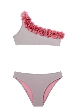 Kız Çocuk Güllü Tek Omuz Bikini 306-303