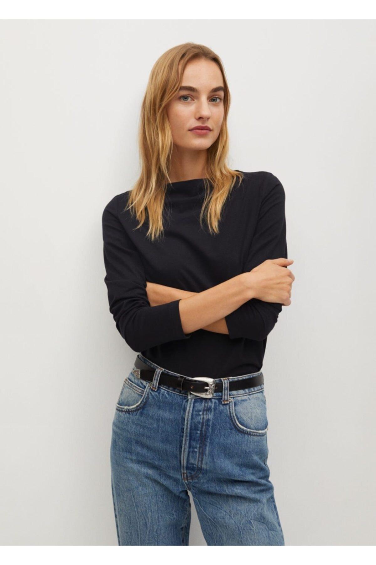 Mango Kadın Siyah Organik Pamuklu Tişört