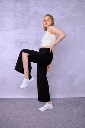 ESPİNA Kadın Siyah Cepli Paçası Yırtmaçlı Eşofman Altı Pantolon 3