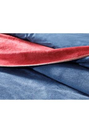 English Home Plain Pamuklu Çift Kişilik Battaniye 200x220 Cm Kırmızı - Lacivert 3