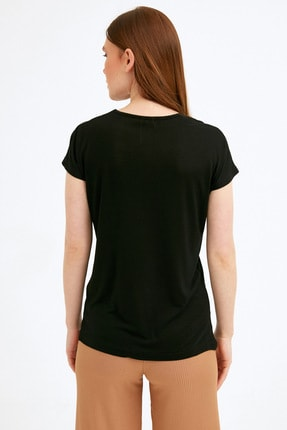 Fullamoda Kadın Siyah Baskılı Tshirt 3