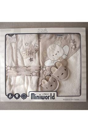 Miniworld Star 5'li Banyo Bornoz Seti Kahvrengi 0