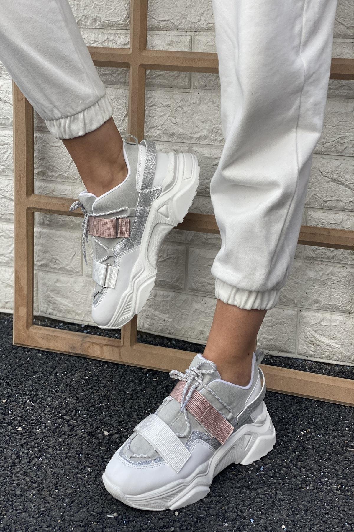 Kadın Beyaz&Pudra Ayakkabı&Sneaker INASPORT10
