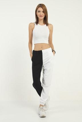Kadin Siyah Beyaz Joger Pantolon Pan10234