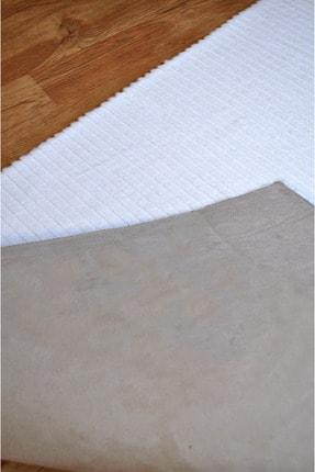 Tappeto Beyaz Çizgi Desenli Post Peluş Halı 3