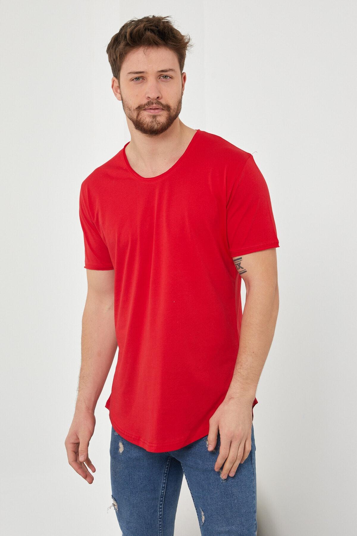 Erkek Kırmızı Pis Yaka Salaş T-shirt-tcps001r57s