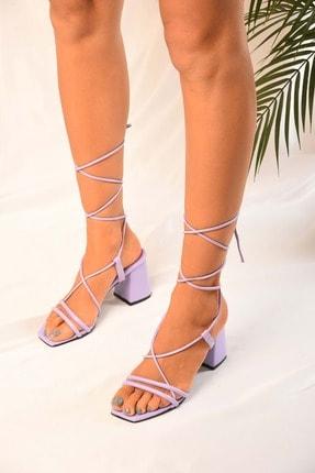 Kadin Lila Bilekten Bagli Topuklu Sandalet Ayakkabi BKC6533