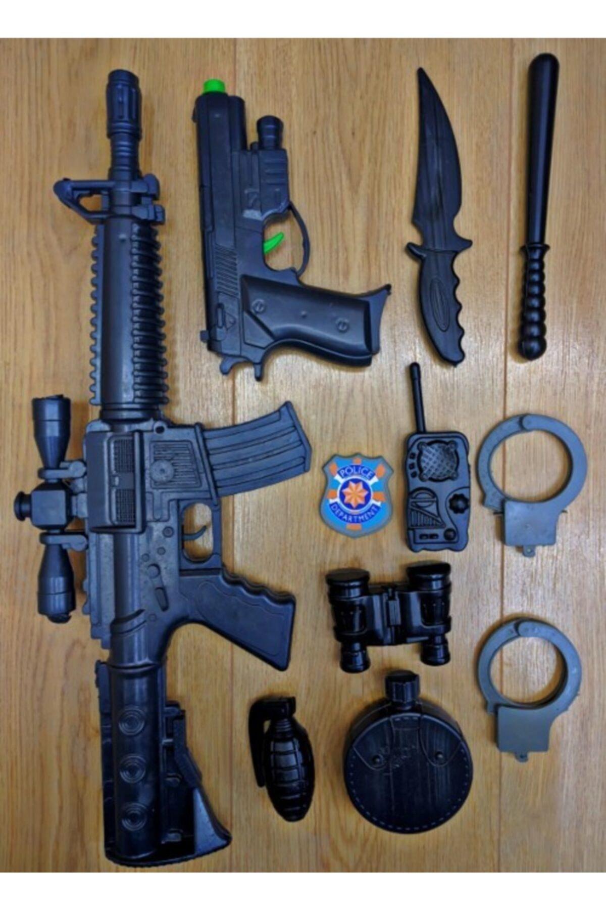 11 Parça Polis Oyuncak Seti Sesli M416 Tüfek Glock Tabanca Bomba Dürbün Polis Rozeti Kelepçe Telsiz