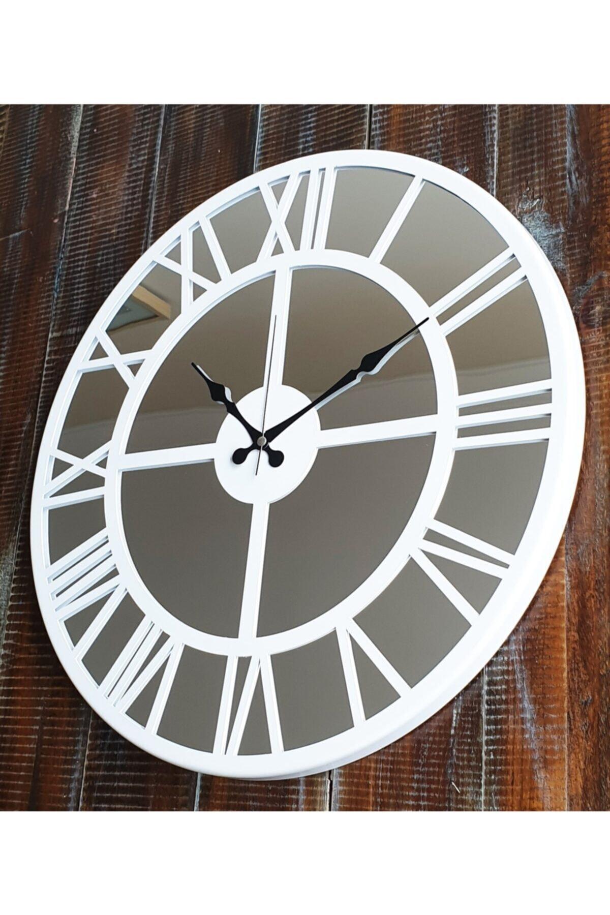 Aynalı Beyaz Metal Duvar Saati Çap 50cm