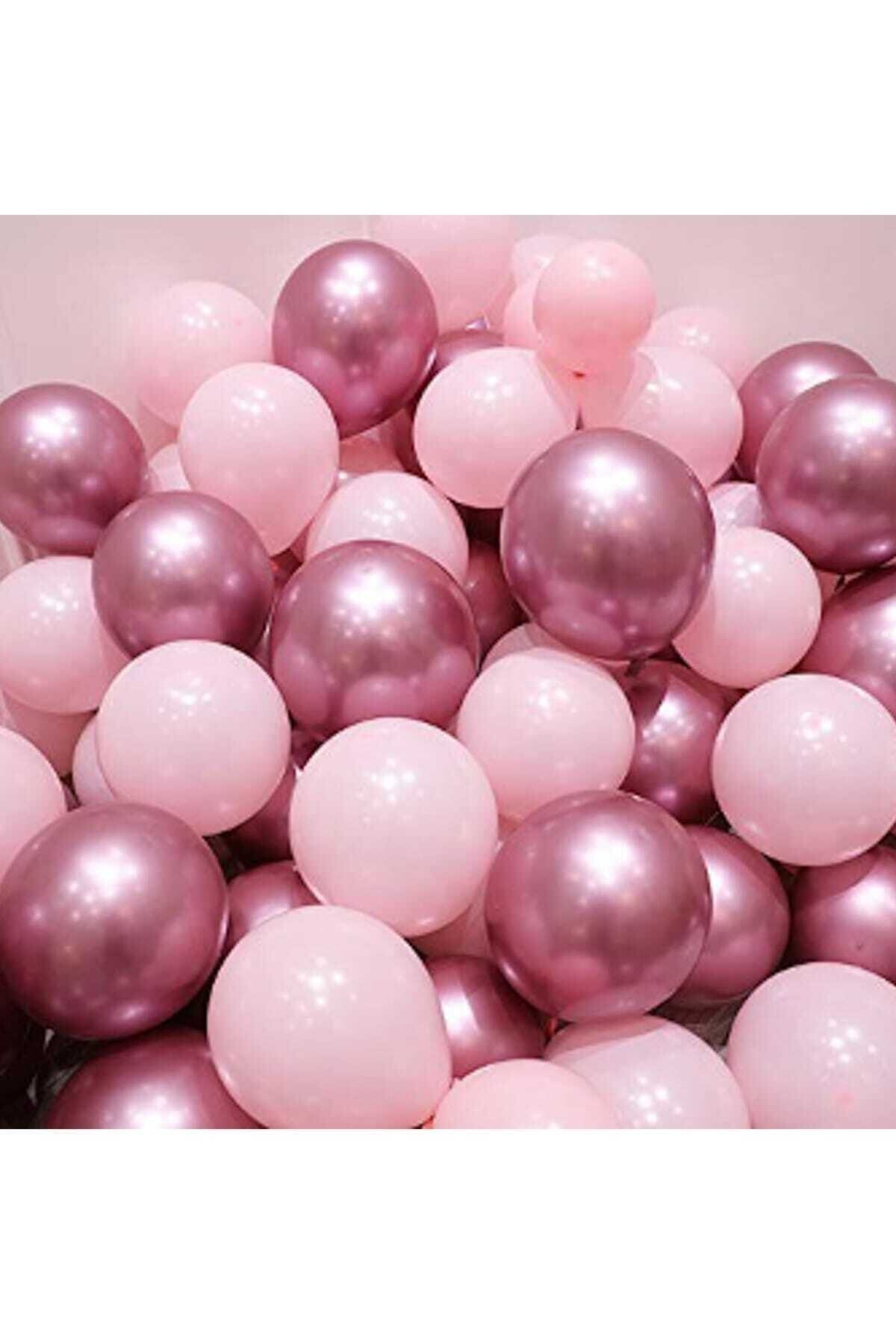 Krom Pembe Ve Makaron Pembe Renk 15 Li Balon