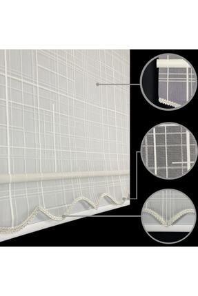 Lucra Concept Çift Mekanizmalı Tül Stor Perde Kare Desen Krem Mt5185 2