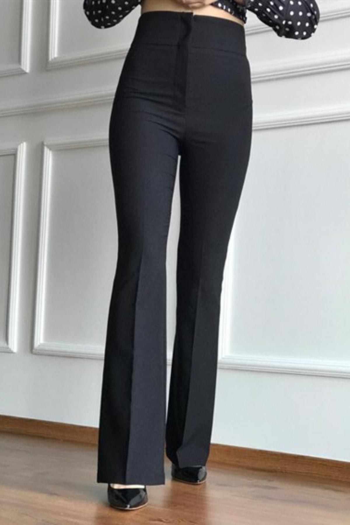 Kadın Siyah Geniş Kemer Ispanyol Paça Pantolon