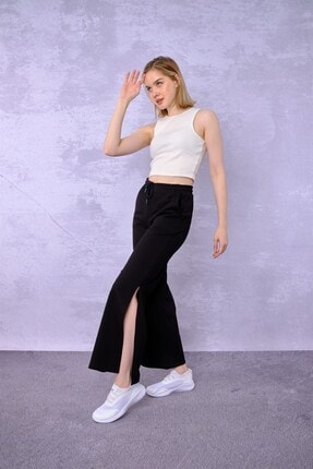 ESPİNA Kadın Siyah Cepli Paçası Yırtmaçlı Eşofman Altı Pantolon 1