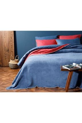 English Home Plain Pamuklu Tek Kişilik Battaniye 150x200 Cm Kırmızı - Lacivert 1