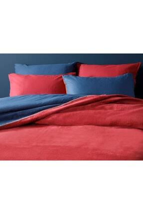 English Home Plain Pamuklu Tek Kişilik Battaniye 150x200 Cm Kırmızı - Lacivert 2