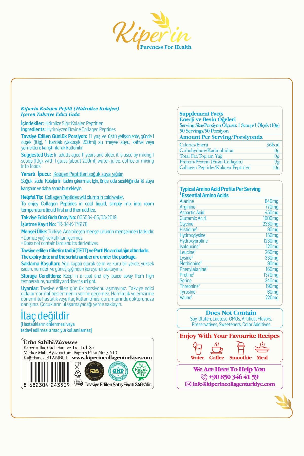 Kiperin Collagen %100 Saf Ve Doğal Toz Kolajen Içeren Diyet Takviyesi 500gr - 50 Günlük
