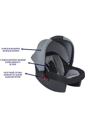 ESY BABY COMFORT Oto Koltuğu Puset Lüx Ortopedik Bebek Taşıma Ana Kucağı Füme 0