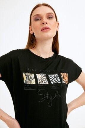 Fullamoda Kadın Siyah Baskılı Tshirt 1