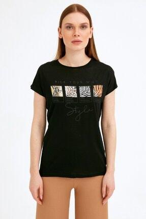Fullamoda Kadın Siyah Baskılı Tshirt 2