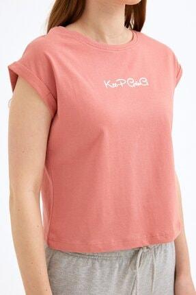 Fullamoda Kadın Pembe Keep Going Baskılı Tshirt 4