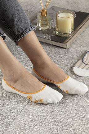 English Home Funny Pamuk Kadın 2'li Babet Çorap Standart Hardal Sarısı-lacivert 0