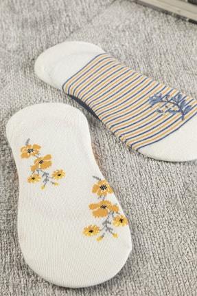 English Home Funny Pamuk Kadın 2'li Babet Çorap Standart Hardal Sarısı-lacivert 1