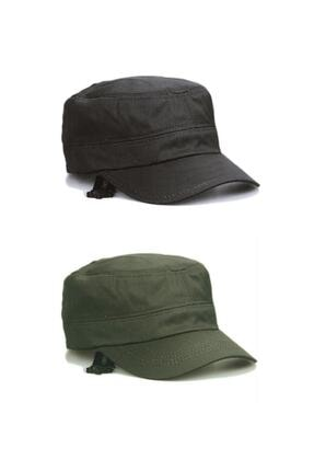 Onesize Fashion Castro Siyah Ve Haki Şapka Ikili Set 0