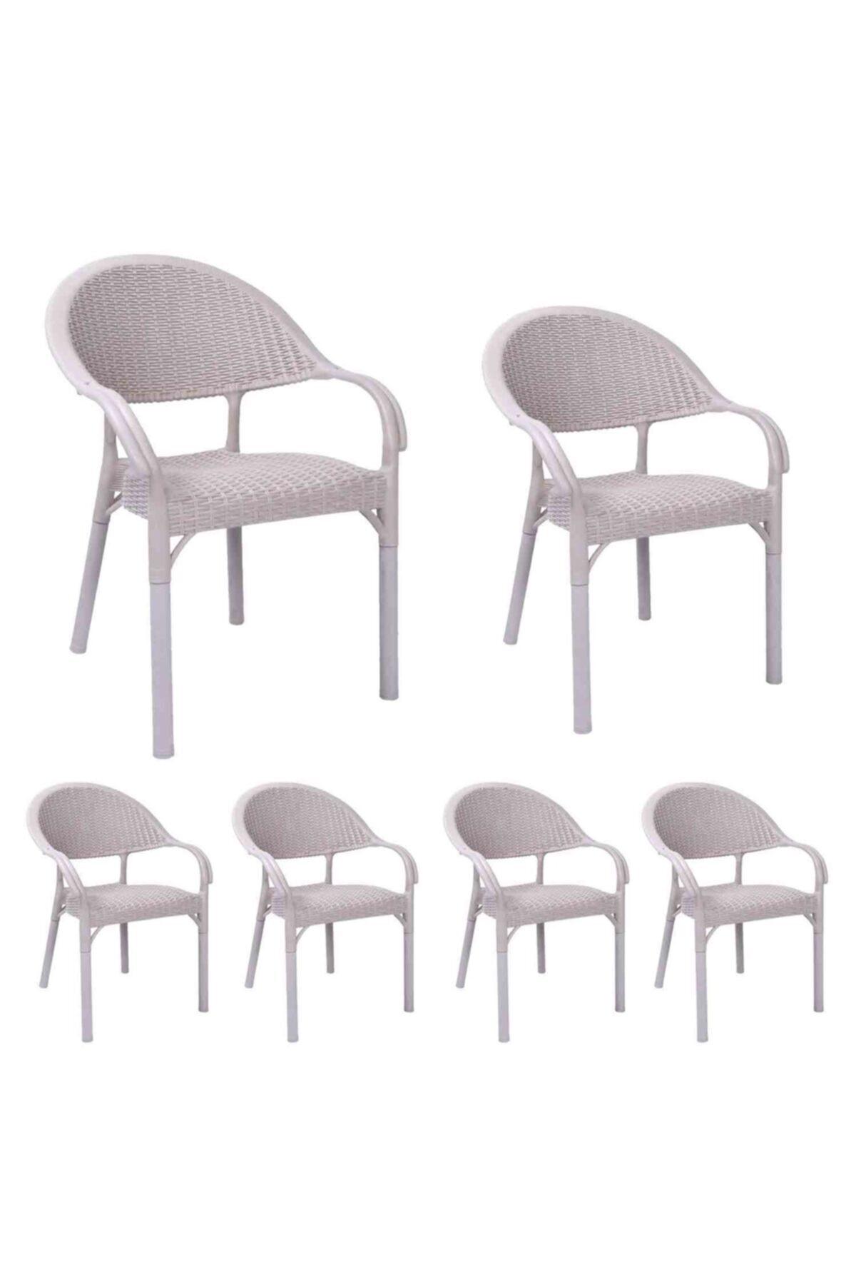 Rattan Bambu Koltuk Bej- Plastik Bahçe Sandalyesi 6 Adet