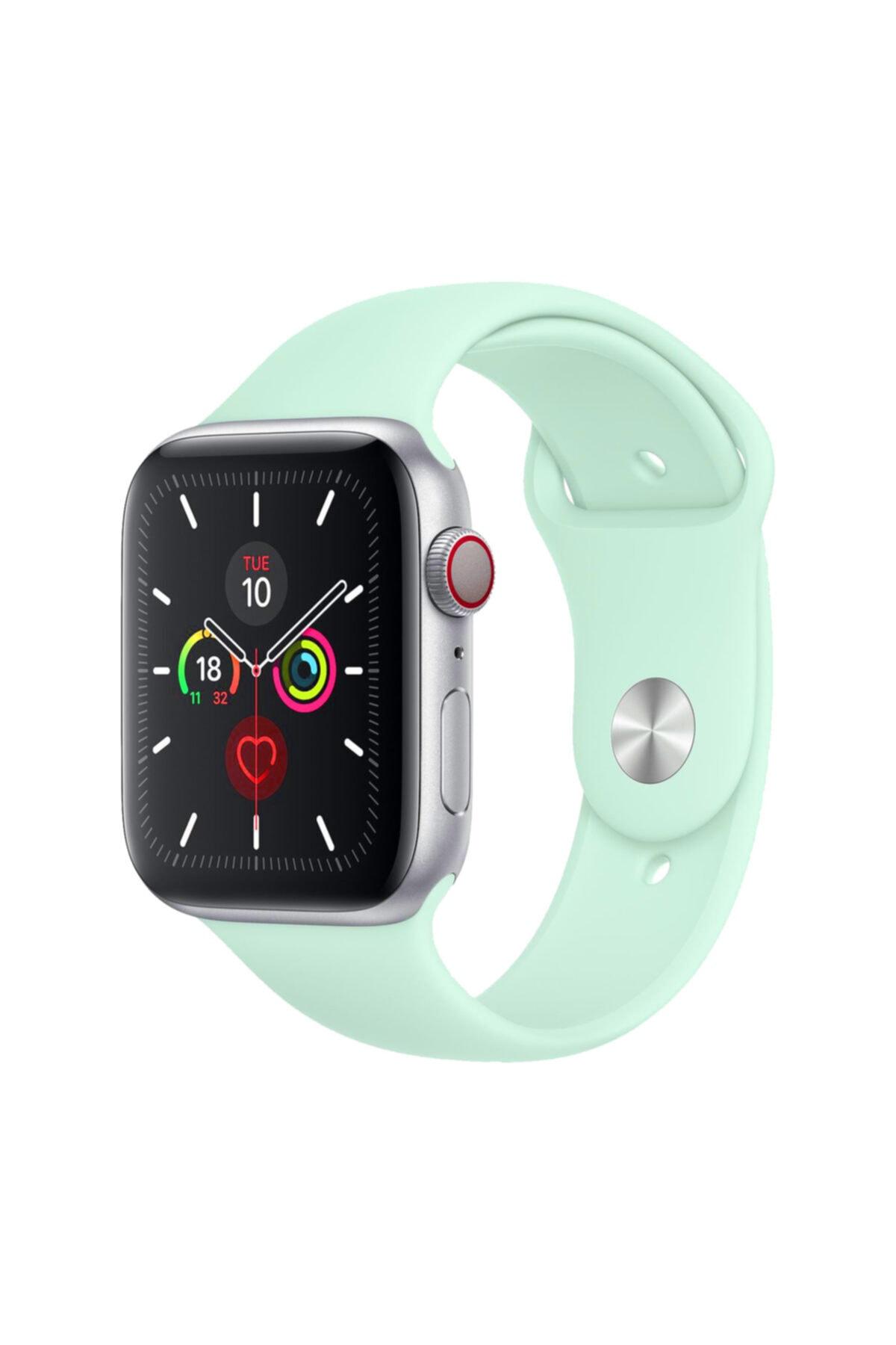 Apple Watch Kordon 2 3 4 5 6 Se Seri 38 Mm Ve 40 Mm Uyumlu Silikon Kordon Kayış - Marina Yeşili