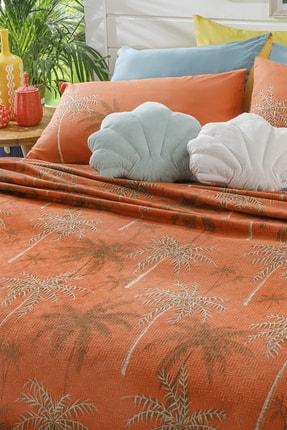 English Home Glitter Palm Baskılı Çift Kişilik Pike 200x220 Cm Yanık Portakal 1