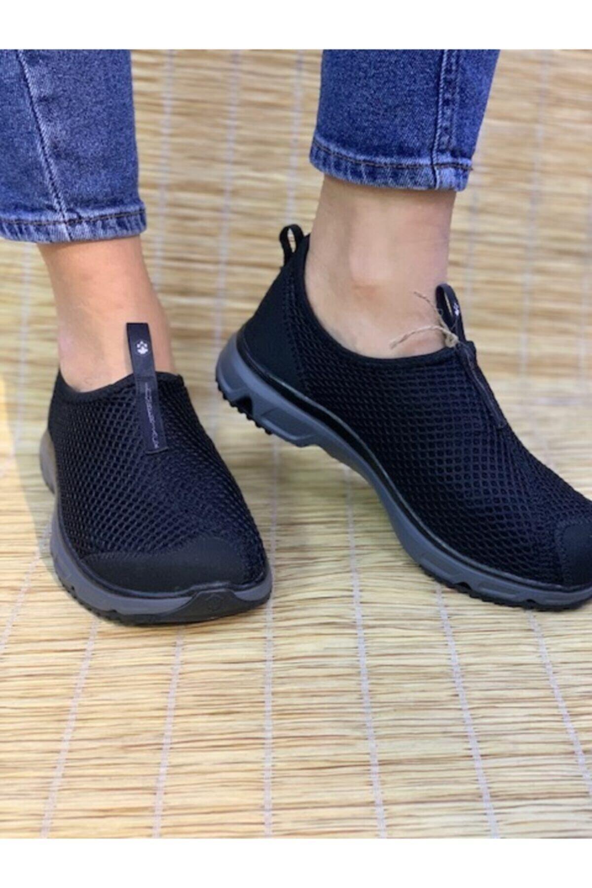 Kadın Siyah-gri Renk Hafif Rahat Kemik Çıkıntısı Için Harika Patik Sneaker Ayakkabı Panto