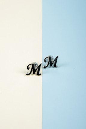 BAYEFENDİ Harfli Gümüş Renk Kol Düğmesi M Harfi 2