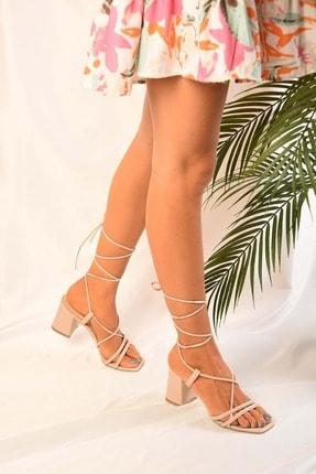 Kadin Ten Bilekten Bagli Topuklu Sandalet Ayakkabi BKC6533