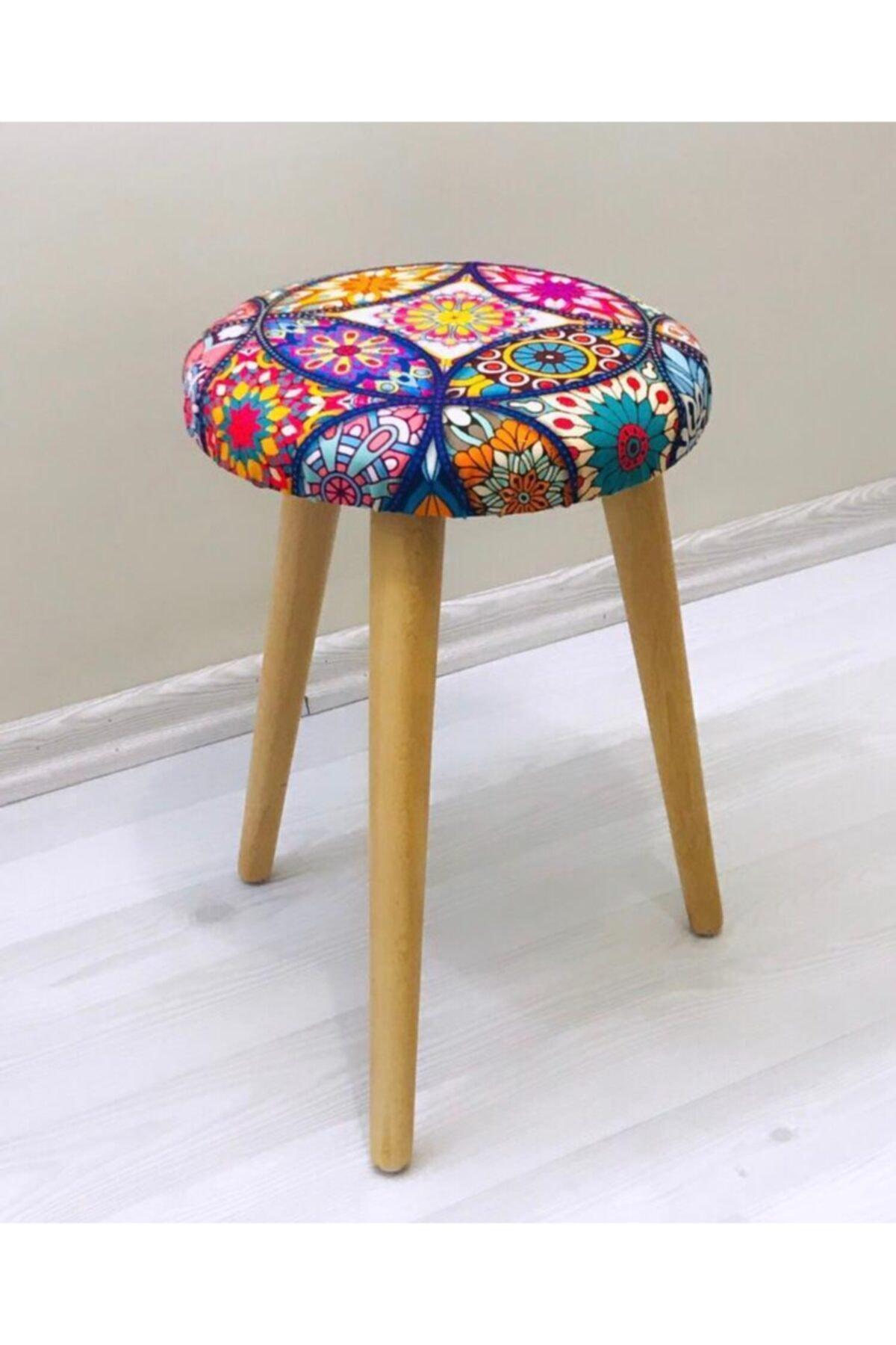 Ahşap Ayak Dekoratif Etnik Desenli Puf Tabure Bench Yuvarlak Koltuk Sandalye