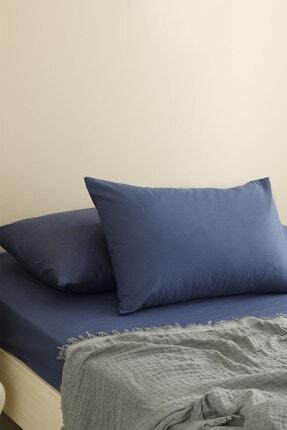 English Home Düz Penye Çift Kişilik Lastikli Çarşaf Takımı 160x200 Cm Gece Mavisi 0